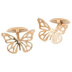 Florence Larochas Gold and Diamond Butterfly Cufflinks