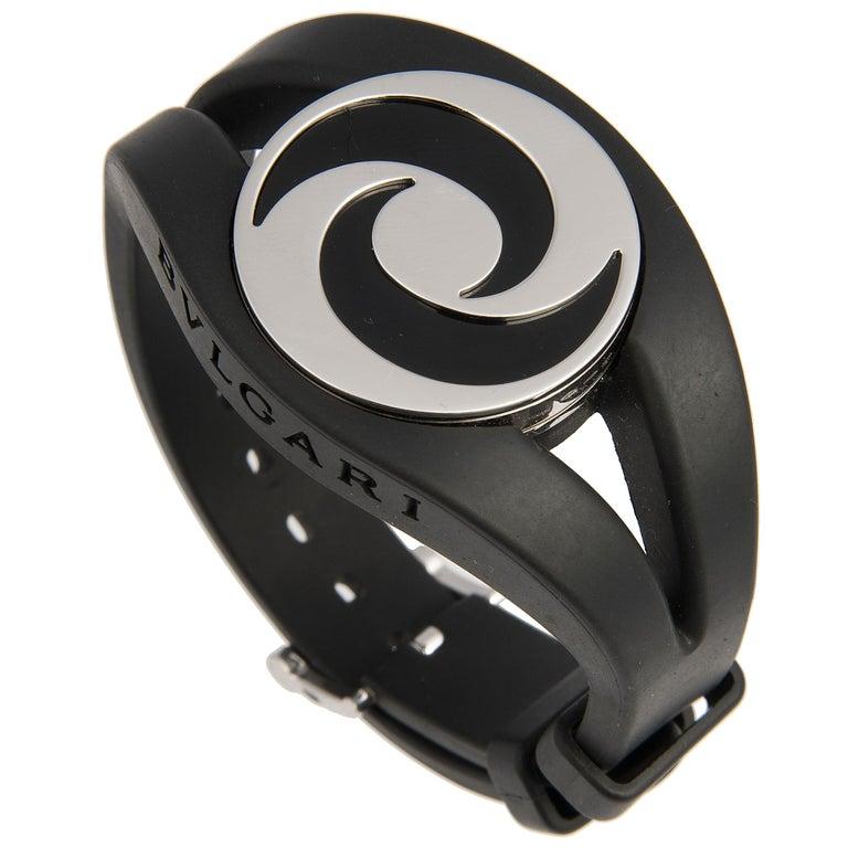Bulgari 18 Karat White Gold and Onyx Optical Illusion Spinning Ring and Bracelet For Sale 2