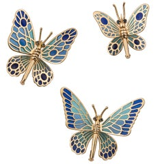 Set of Three 18 Karat Yellow Gold and Pique a Jour Butterfly Brooches