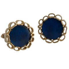 18 Karat Yellow Gold and Lapis Lazuli Cufflinks