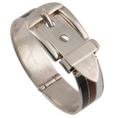 Gucci Silver and Enamel Garden Cuff Bracelet