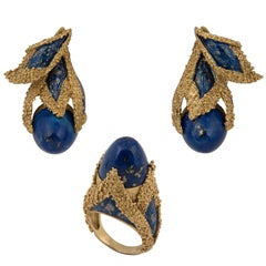 1970s 18 Karat Gold, Enamel and Lapis Lazuli Ring and Earrings Set