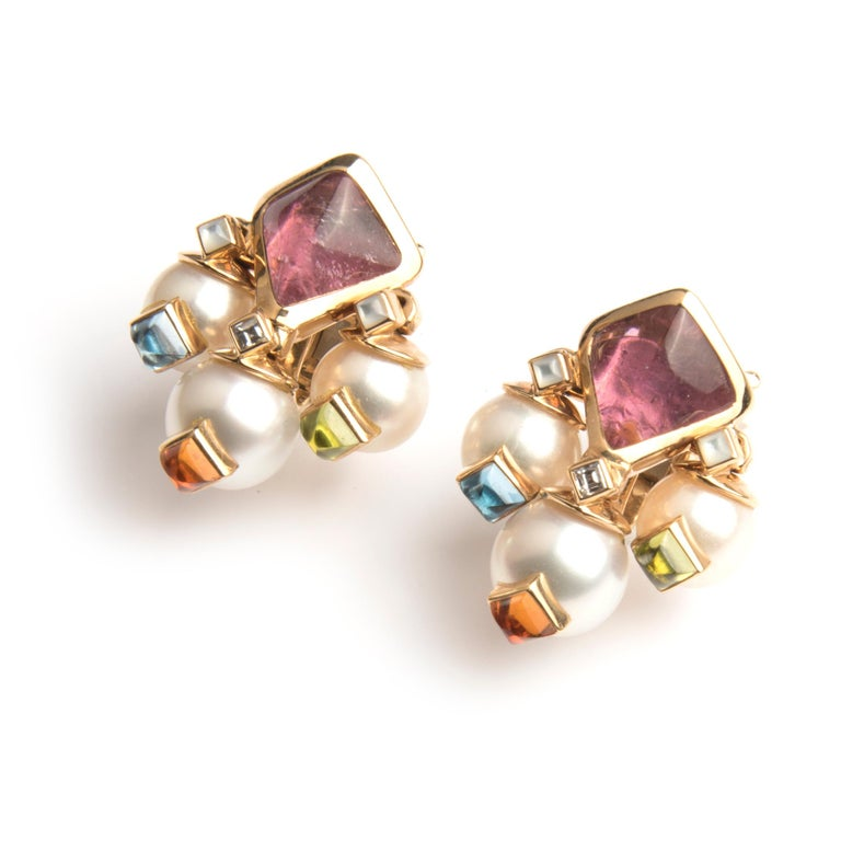 Marina B 'Aquila' clip earrings,  18k yellow gold, each with a pink tourmaline, a diamond and tree suspended cultured pearls set with Russian quartz. Signed Marina B,  makers mark, Italian hallmarks, numbered C3105 and C3130 Circa 19956  The Aquila