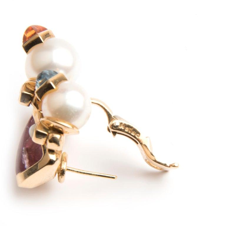 Marina B 'Bulgari' Tourmaline and Cultured Pear Earrings 'Aquila' For Sale 1