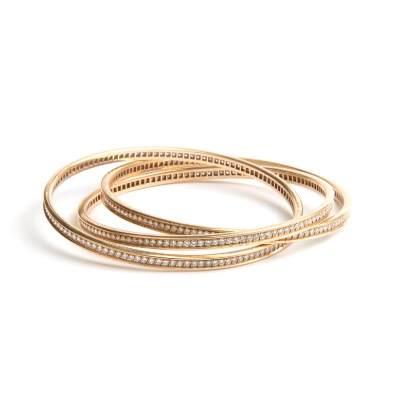 Round Cut Cartier 18k Yellow Gold and Diamond Trinity Bracelet For Sale