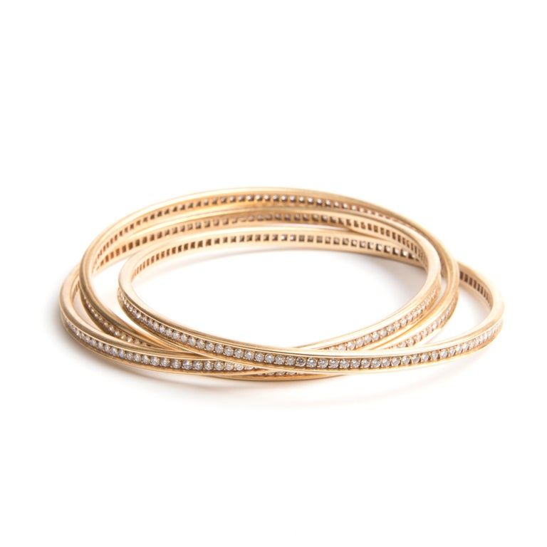 Cartier 18k Yellow Gold and Diamond Trinity Bracelet In Good Condition For Sale In London, GB
