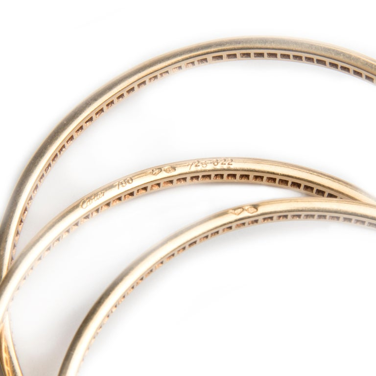 Women's or Men's Cartier 18k Yellow Gold and Diamond Trinity Bracelet For Sale