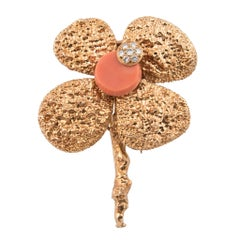 Chaumet 18k Yellow Gold Coral and Diamond Flower Brooch