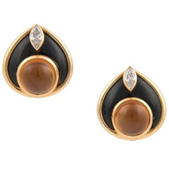 Marina B 'Bulgari' 18 Karat Gold Onyx Diamond and Citrine Clip-On Stud Earrings