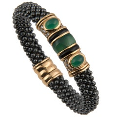 Marina B 'Bulgari' 18k Gold Hematite Diamond and Chrysophrase Bangle Bracelet