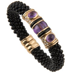 Marina B 'Bulgari' 18 Karat Gold Onyx Diamond and Amethyst Bangle Bracelet