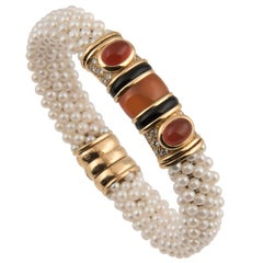 Marina B 'Bulgari' 18k Gold Cultured pearl Diamond and Cornaline Bangle Bracelet