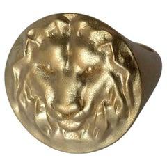 14k Yellow Gold Leo Lion Head Signet Ring