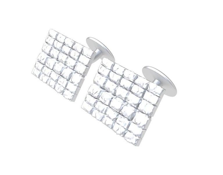 Contemporary 18 Karat White Gold Cufflinks For Sale