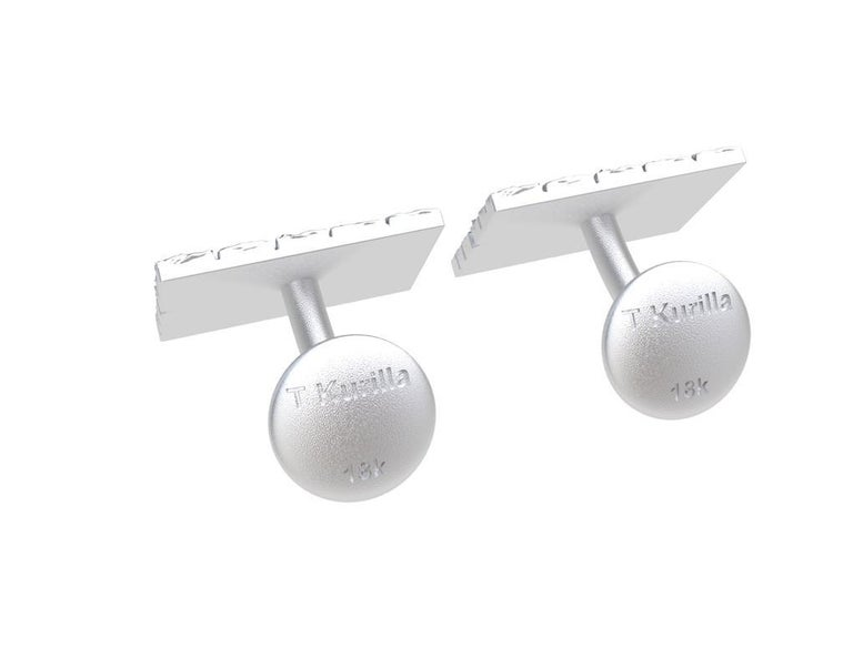 18 Karat White Gold Cufflinks In New Condition For Sale In New York, NY