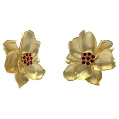 14 Karat Yellow Gold Wild Flower Earrings with Rubies
