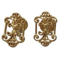 18 Karat Yellow Gold Vermeil French Gate Cufflinks