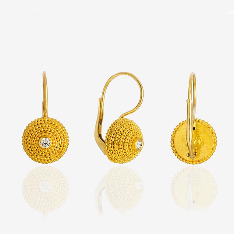 Round Cut 24K Gold Handcrafted Granulated Drop Earrings with Brilliant Cut Diamonds  For Sale