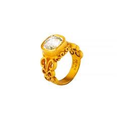 24 Karat Gold Byzantine Inspired Cushion Cut Diamond Solitaire Ring