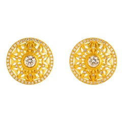 24K Gold Handcrafted Sun Burst Open Work Solitaire Button Earrings with Diamonds