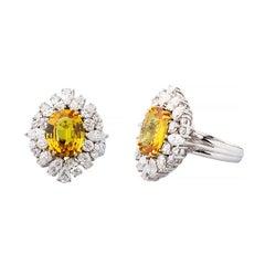 18 Karat Handcrafted Yellow Sapphire And Diamond Ring