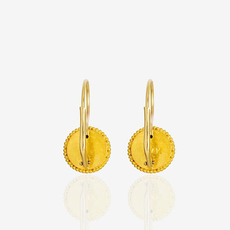 Classical Greek 24K Gold Handcrafted Granulated Drop Earrings with Brilliant Cut Diamonds  For Sale