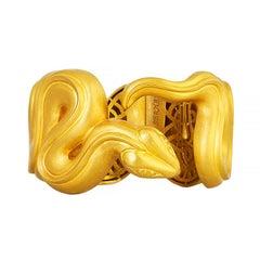 24 Karat Pure Gold Handcrafted Wavey Snake Cuff Bracelet