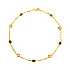 24 Karat Gold Handcrafted Cabochon Sapphire Linked Ball Necklace