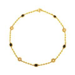 24 Karat Gold Handgefertigte Cabochon Saphir Ball Halskette