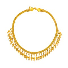 24 Karat Pure Gold Handcrafted Granulated Ball Etruscan Diamond Necklace