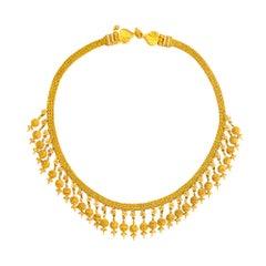 24 Karat Reines Gold Handgefertigte Granulierte Kugel Etruskische Diamant Halskette