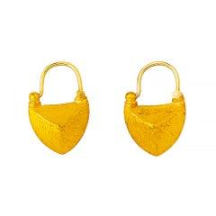24 Karat Elegantly Handcrafted Sharped Edge Boat Shape Earrings