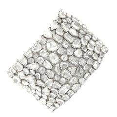 Diamond Bracelet with 100.37 Carat of Rose Cut Diamonds Set in Platinum