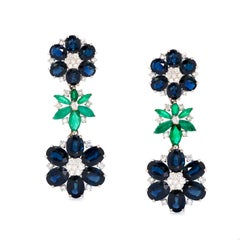 Sapphire, Emerald and Diamond Classic Drop, Floral Design Estate Earrings