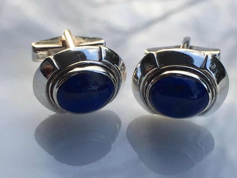 Natural undyed untreated oval 6 MM x 8 MM approx 3 carat Lapis set in sterling silver is hand crafted one of a kind. Total Cufflinks is 7.10 Gram .