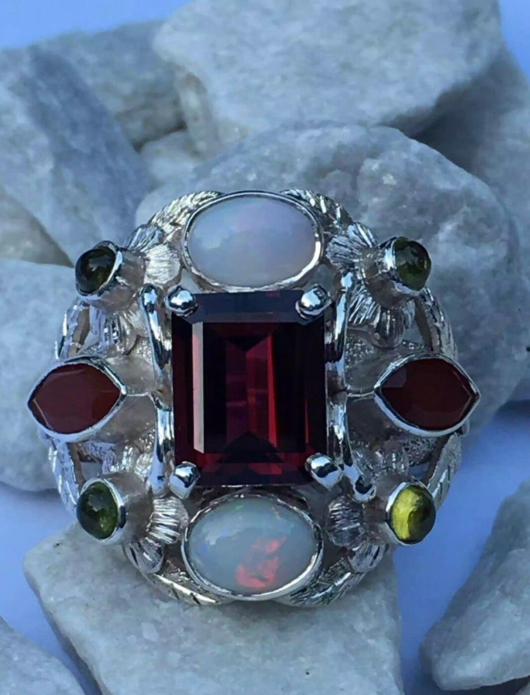 Garnet, Opal, Carnelian and Peridot Cocktail Ring For Sale 5