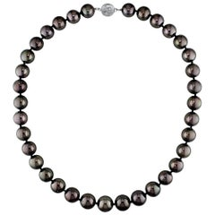 AAA Quality Round Tahitian South Sea Pearl Necklace with Diamond Studded Clasp