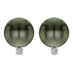 14 Karat Gold AAA Tahitian Cultured Pearls with 1/10 Carat Diamond Earrings