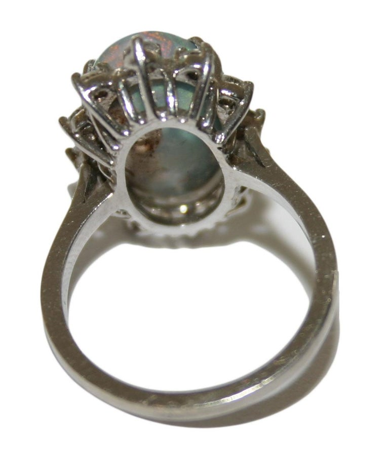 14 Karat White Gold Ladies Australian Black Opal and Diamond Cocktail Ring In Good Condition For Sale In Laguna Beach, CA