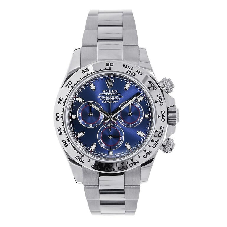 Certified Rolex Cosmograph Daytona 18 Karat White Gold Blue Dial Watch 116509