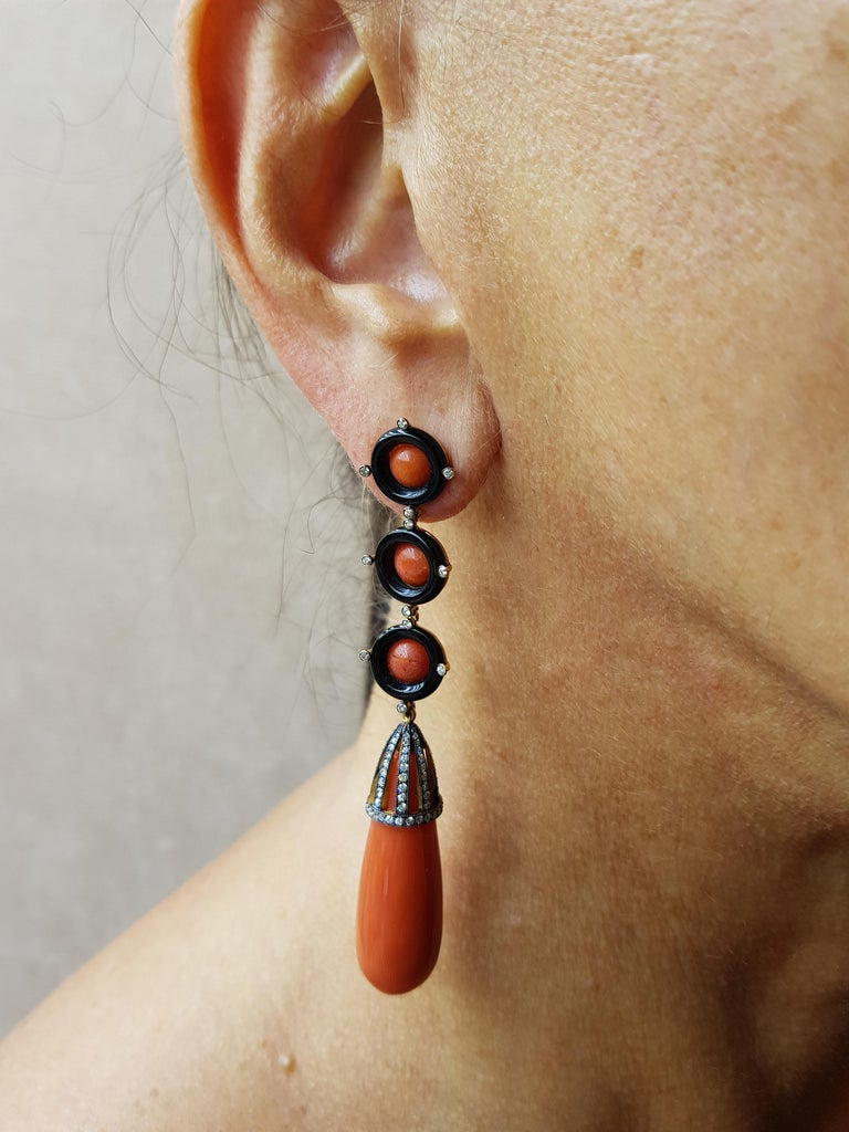 Contemporary Rose Gold Diamond Coral and Onyx Earrings For Sale