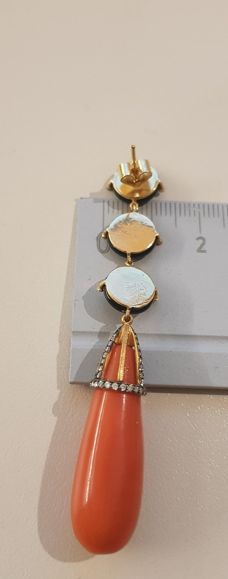 Women's Rose Gold Diamond Coral and Onyx Earrings For Sale