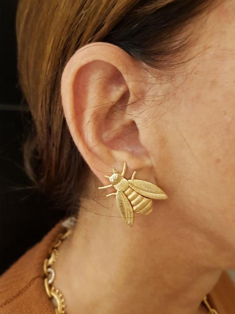 Women's Rose Gold Diamond Bee Stud Earrings For Sale