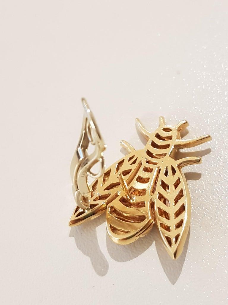 Rose Gold Diamond Bee Stud Earrings For Sale 4