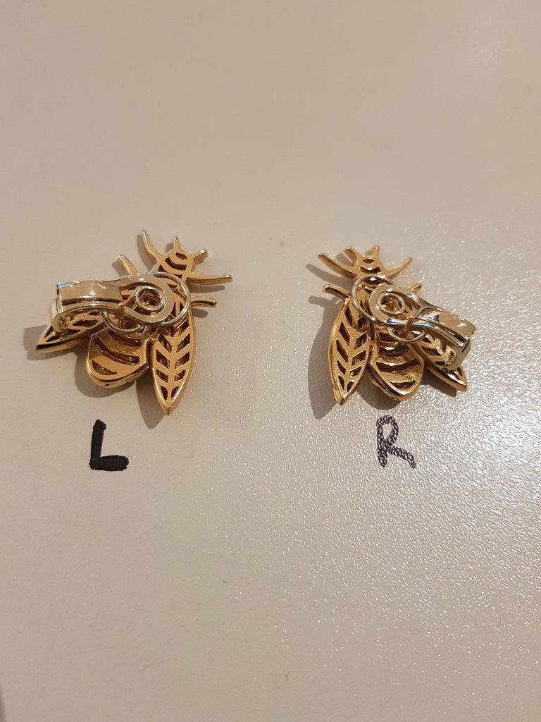Rose Gold Diamond Bee Stud Earrings For Sale 5