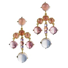 Daria de Koning Pink Tourmaline, Rose Quartz, Amethyst Chandelier Earrings