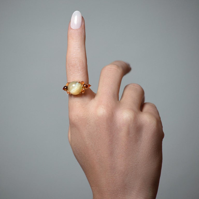 Artist Daria de Koning Lemon Moonstone, Carnelian, Citrine Ring For Sale