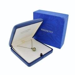 Mikimoto 18k White Gold Tahitian Peacock Green Pearl Pendant Necklace Orig Box