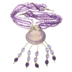 Vintage Sterling Silver 925 Boho Tassel Statement Amethyst Bead Beach Necklace