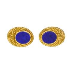 Vintage 14 Karat Gold Men's Lapis Cufflinks by La Triomphe 14.95 Gram Full Size